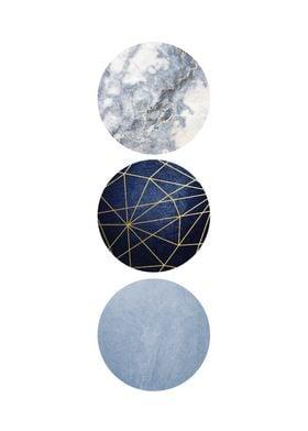3 Minimalist Circles Blue