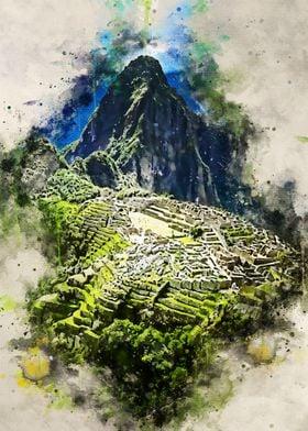 Machu Picchu in Watercolor