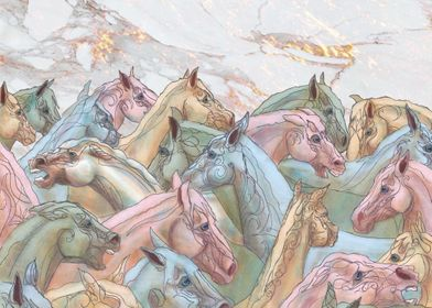 Herd of Mares White Marble