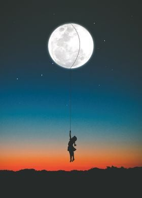 Little girl and the moon