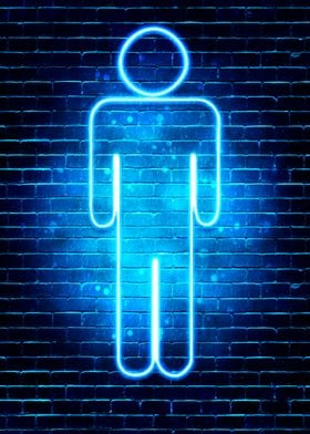 Neon Mens Toilet sign
