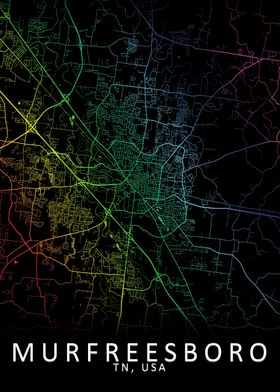 Murfreesboro USA City Map