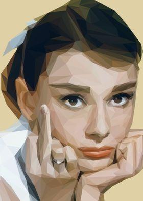 Audrey Hepburn Lowpoly Art