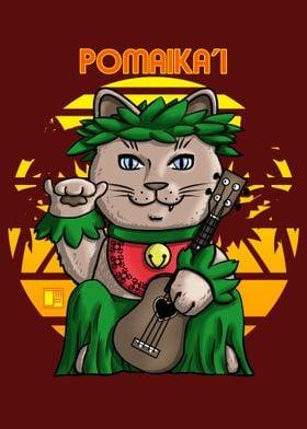 Maneki Neko Hula Girl Cat