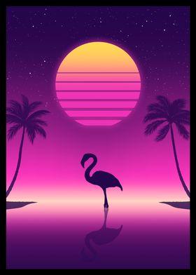 Sunset Flamingo