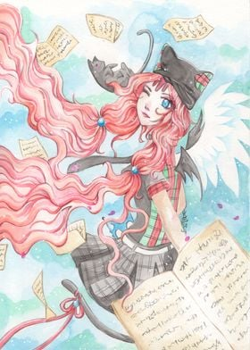 Cat girl with flying books