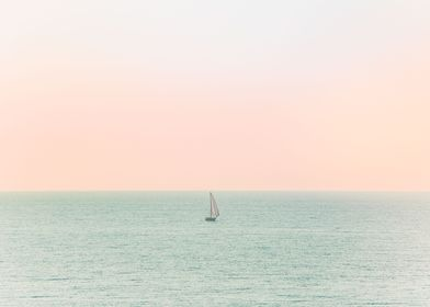 Lone Sailboat on the Ocean