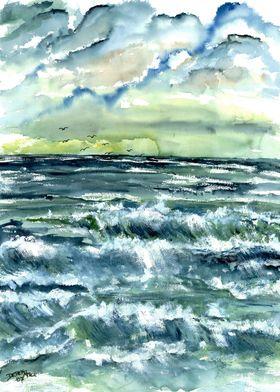Beach waves seascape art