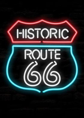 Route 66 Man Cave Neon
