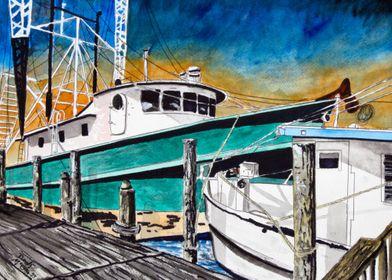 Shrimp Boats Marine Art