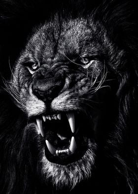 angry lion face poster