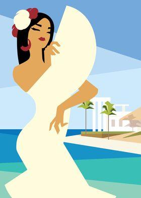 Spanish Lady on ocean shor