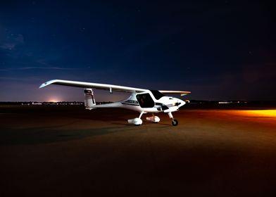 Airplane parking at night
