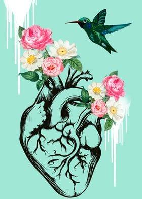 Heart and hummingbird