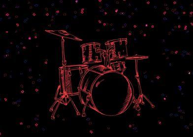 Neon Music Drumset