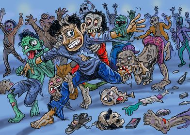 Zombie attack comic style