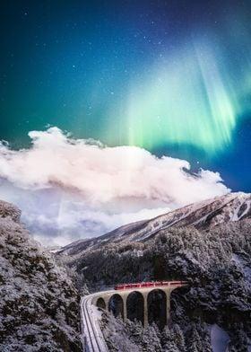 Aurora Over The Train