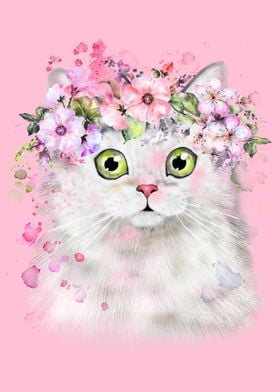 CUTEST CAT WITH FLOWERS