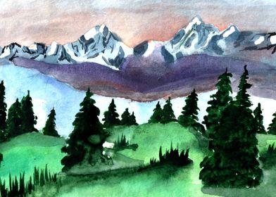 Watercolor art nature