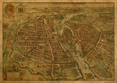 Old Street Map of Paris