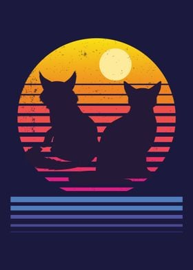 Cats Retro Synthwave