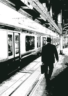Abstract Man by the Train
