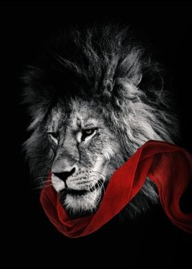 lion head with red shal
