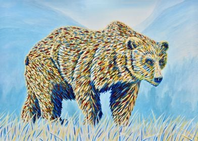 Colourful Bear in the Gras