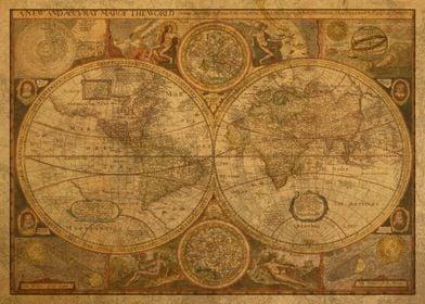 Vintage World Map 1659