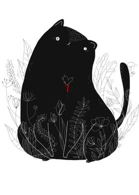 black cat in forest