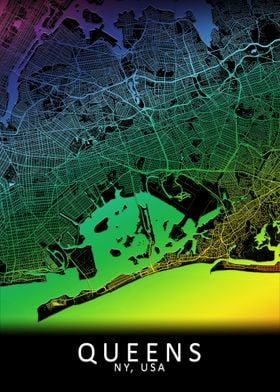 Queens NY USA City Map