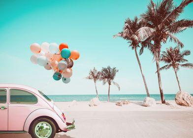 Retro car baloons beach