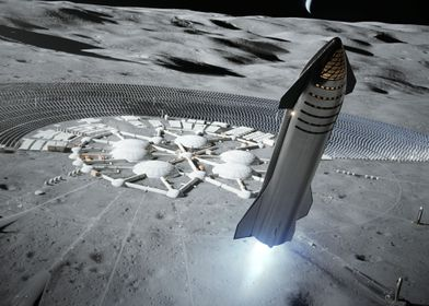 Starship At The Moon