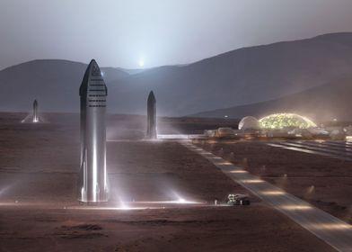 Mars Colony And Starship