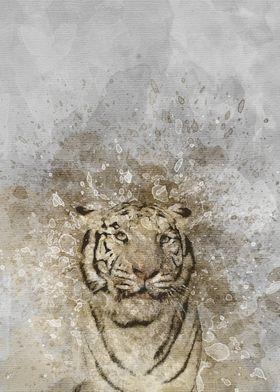 Tiger Animal Wandteppich Kunst Wandbehang Tisch Bettdecke Poster