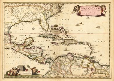 Caribbean Old Map 1690