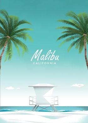 Malibu CA  travel poster