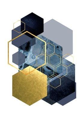 Hexagonal Blue and Gold
