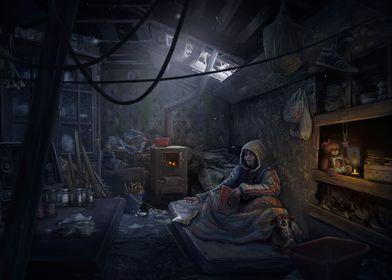 Woman on the mattress