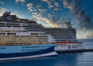 Two Cruise Ships at Sunset