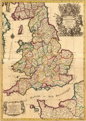 England Old Map 1708