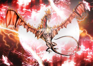 Fire Dragon in A Storm
