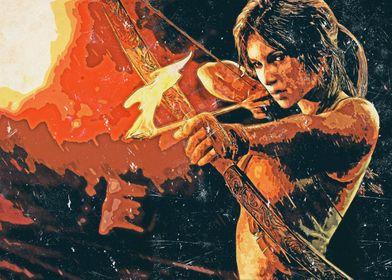 Retro Comic Lara Croft Bow