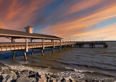 Saint Simons Pier at Sunse