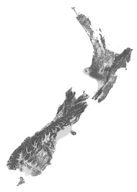 New Zealand Terrain Map