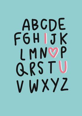 A B C I love U