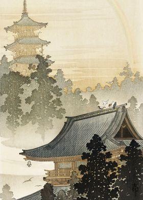 Birds on japanese pagoda