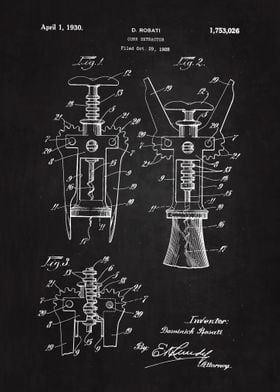 1930 Cork Extractor Patent