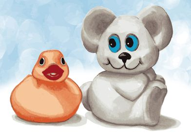Teddy bear and rubber duck