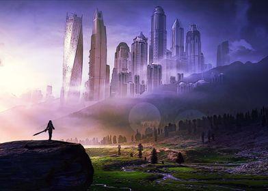 Femal knight and the city